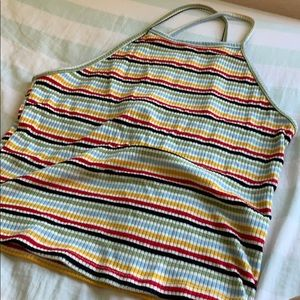 cropped rainbow stripped shirt